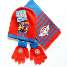 Paw patrol dog plush knit hat Scarf gloves Cartoon character model picture action toy child birthday Xmas gift