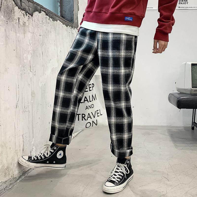 Plaid Pants Men's Fashion Casual Retro Harem Pants Men Streetwear Loose Hip Hop Straight Trousers Mens Joggers Sweatpants M-5XL