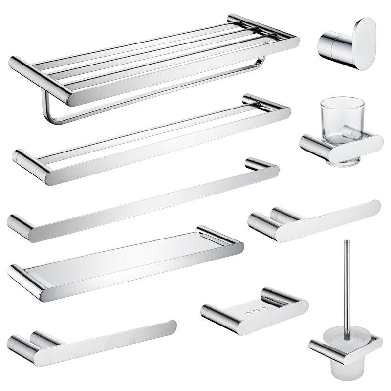 Bathroom Accessories Set 304 Stainless Steel Chrome Towel Bar Shelf Glass Rack Cup Paper Holder Toilet Brush Holder Robe Hook