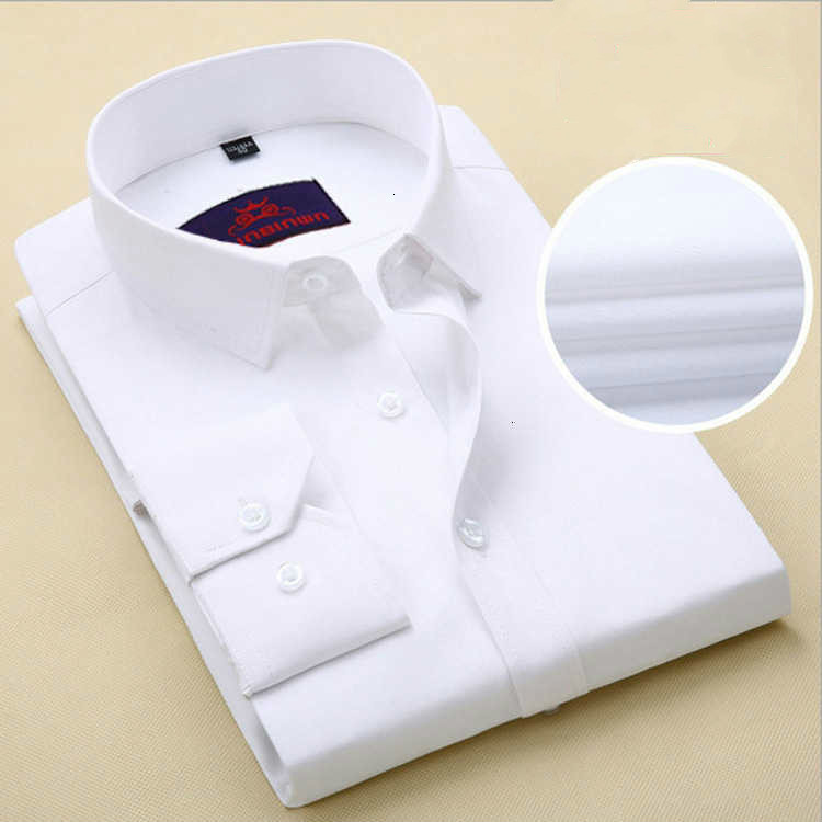 Solid Color Men's Business Formal Shirt White Man Turn-down Collar Long Sleeve Occupation Male  Long Sleeve Slim Fit Shirts