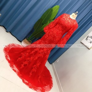 Image 4 - 2021 זהב צהוב תחרה ארוך שרוול דובאי שמלת ערב בת ים 3D פלורה ערבית סלבריטאים שמלות נשף בתוספת גודל ארוך פורמליות שמלות