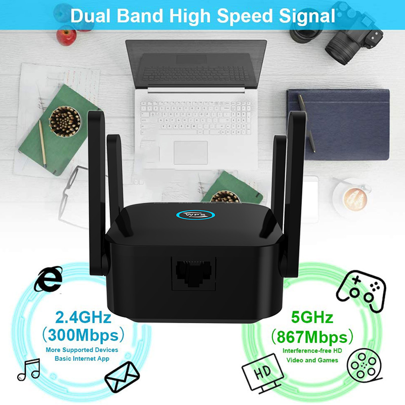 5G Wifi Repeater 5ghz Repeater Wifi 1200M Router Wifi Extender Long Range 2.4G Wi Fi Booster Wi-Fi Signal Amplifier Access Point 5