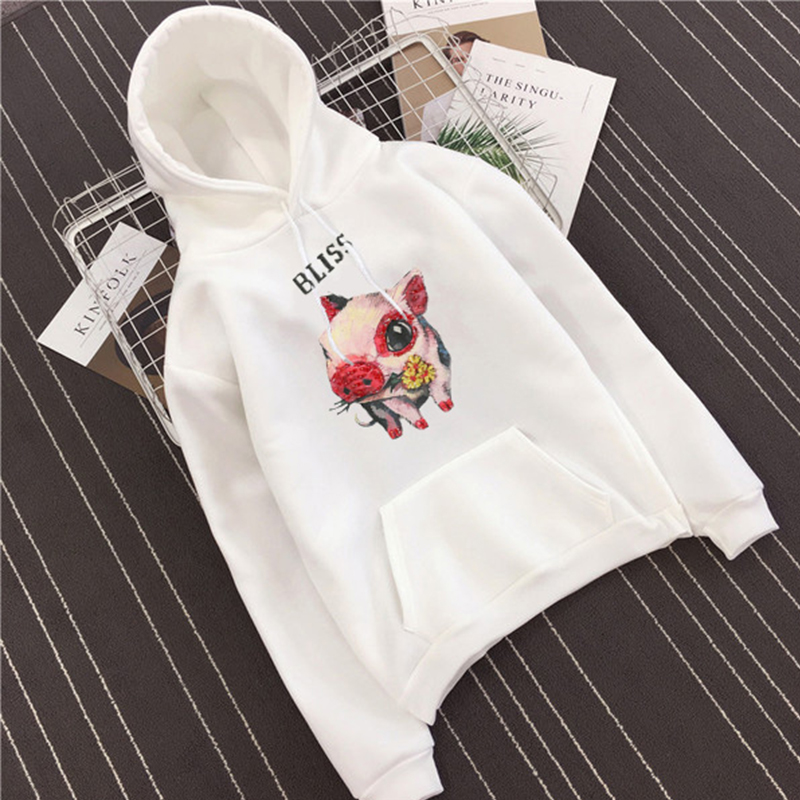 Cute cartoon pig print pocket mens hoodies Harajuku Long sleeve Fashion sweatshirt Japanese street style Warm funny Pullovers