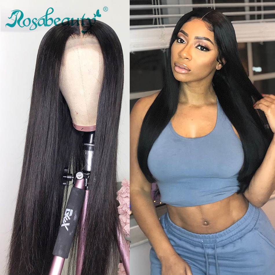 Rosabeauty Long Glueless 13x4 Lace Front Human Hair Wigs Pre Plucked Brazilian Straight Frontal Wig For Black Women