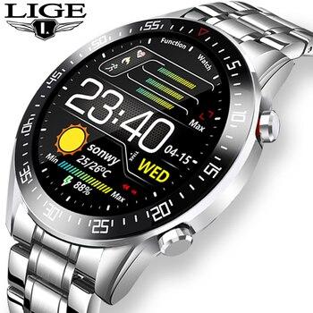 LIGE 2020 moda w pełni okrągłe ekran dotykowy mężczyzna inteligentne zegarki IP68 wodoodporna Fitness sportowy zegarek luksusowy zegarek inteligentny zegarek dla mężczyzn