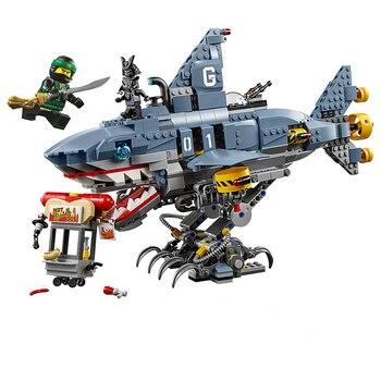 872pcs Ninjagoes Garmadon Big Shark Building Blocks Machine Armor Compatible Lepining 70656 Ninja Bricks Toys for Children