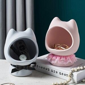 Resin Cat Model Storage Tank Sundries Storage Modern Home Decoration Living Room Bedroom Desktop Decoration Cute Creative Gifts