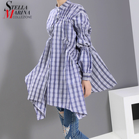 * 2019 Korean Style Women Asymmetrical Blouse Shirt Long Puff Sleeve Plaid Ladies Unique Blouses Casual Shirt chemise femme 5474