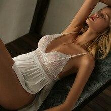 Sexy Lingerie Nightgown Womens Sleepwear Summer Side Split Small Chest Suspender Strap Silk Sleeping Dress with Panty