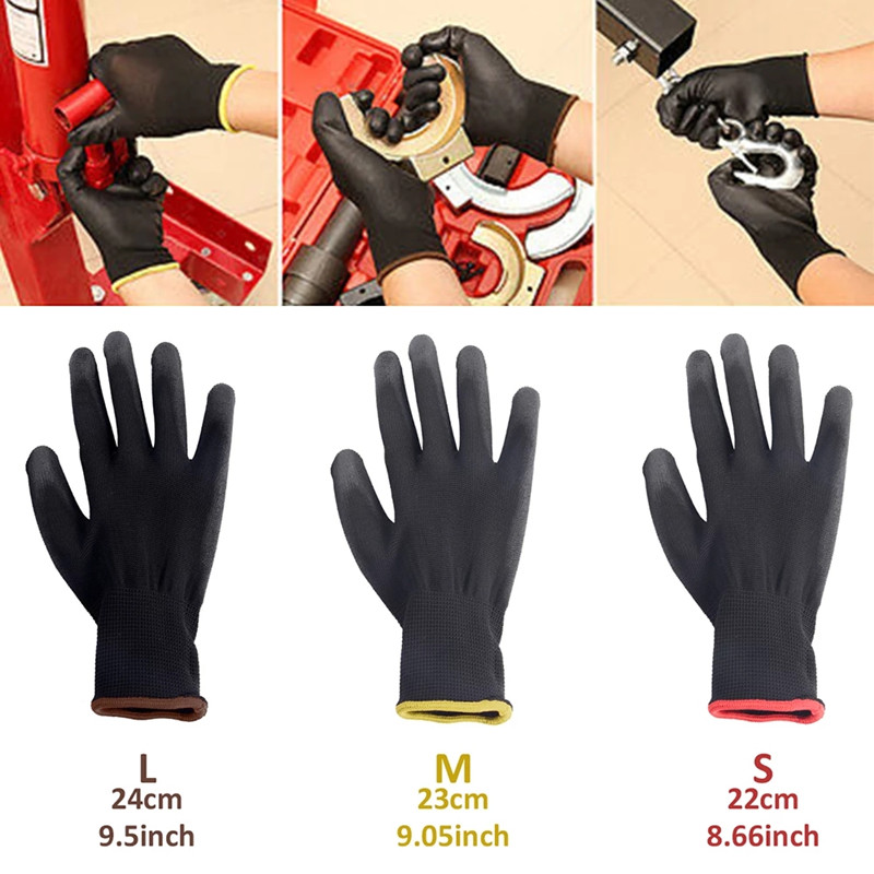 12/24 Pairs S/M/L Nylon PU Safety Working Gloves Builders Grip For Palm Coating Gloves Carpenters Maintenance Workers Supplies
