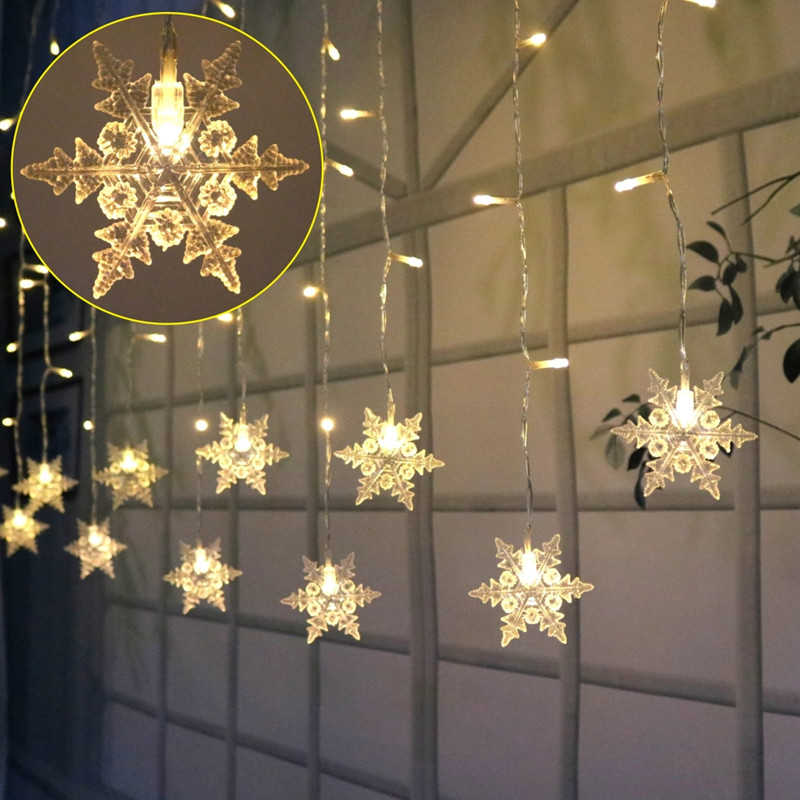 3.5M 96 LED Icicles Light String Waterproof Snowflake 8 Modes String Fairy Light For Christmas New Year Wedding Eaves Decoration