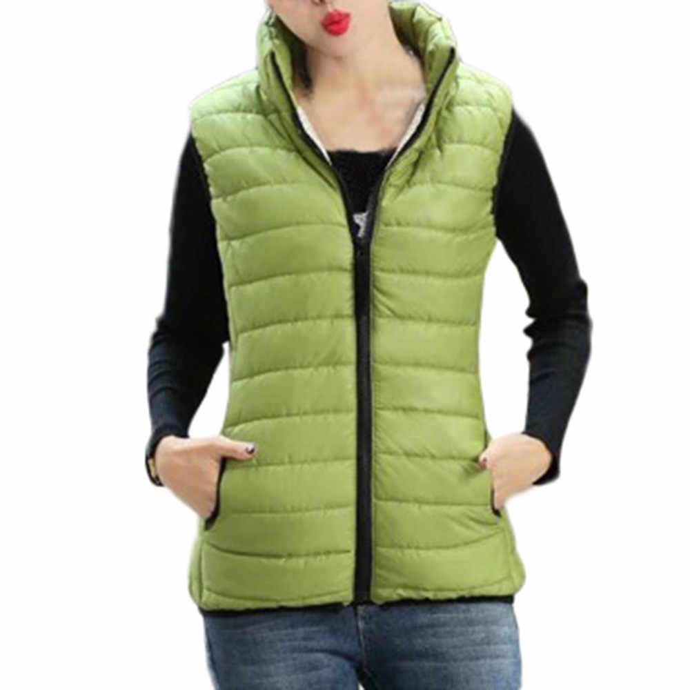 JAYCOSIN Women's Vest Coat Winter Parka Outwear Coats Vest casual female Warm Stand Collar Jacket vests ladies Pockets Solid