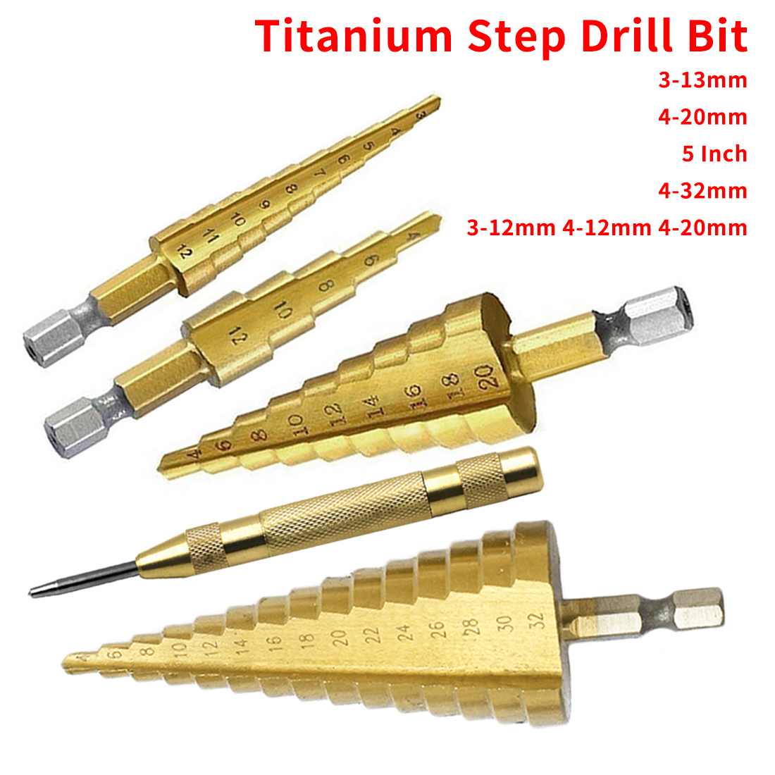 Step Drill Bit 3-12mm 4-12mm 4-20mm HSS Titanium Steel Woodworking Metal Drilling Set Hex Shank Step Cone Cutting Tools
