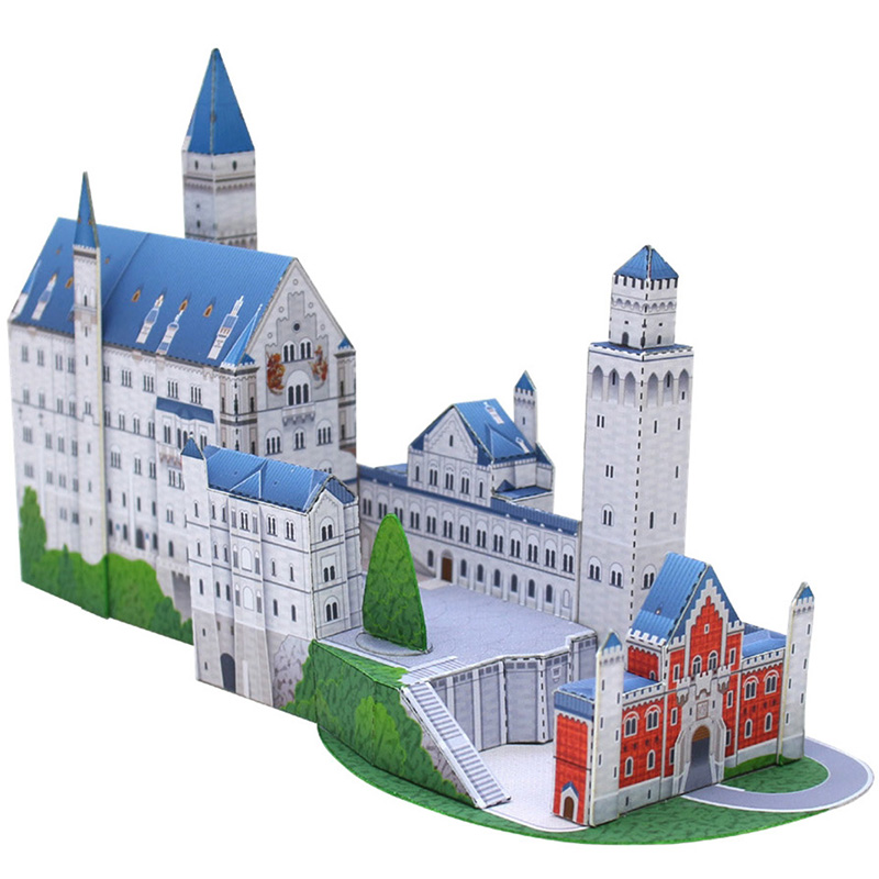 Germany Neuschwanstein Castle Folding Cutting Mini 3D Paper Model House Papercraft DIY Kids Adult Handmade Craft Toys QD-207