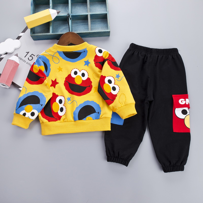 Image 3 - Cartoon Toddler Infant Baby Boy Clothes Set T shirt + Pants Cotton Long Sleeves Outfits Set Yellow White Toddler Boys ClothingClothing Sets   -