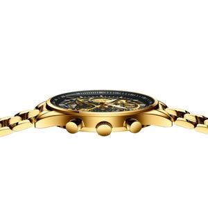 Image 4 - Nibosiメンズ腕時計レロジオmasculinoファッショントップブランドの高級クォーツ時計男性カジュアル高級防水スケルトン男性腕時計