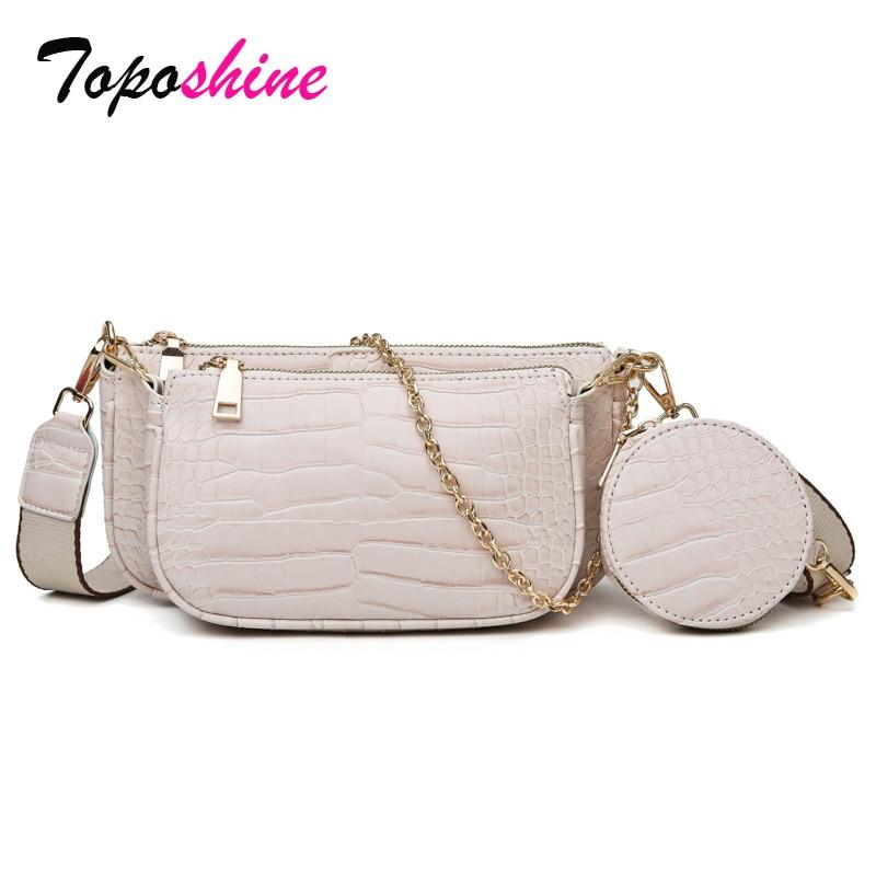 Toposhine Alligator Pattern Leather Women Bag Turn Lock Chains Shoulder Bag Three-Piece Set Composite Bags Woman Shoulder Bag