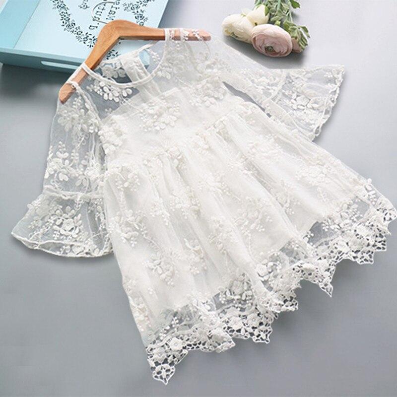 Neve branca rendas meninas vestido princesa menina vestidos de verão roupas para crianças traje menina casual vestir infantil 3 6 8 anos