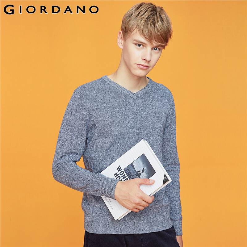 Giordano Men Sweaters V-neck Long Sleeve Knitted Pullover Men Cotton Soild Color Medim Thickness Soft Sueter Hombre 32059802