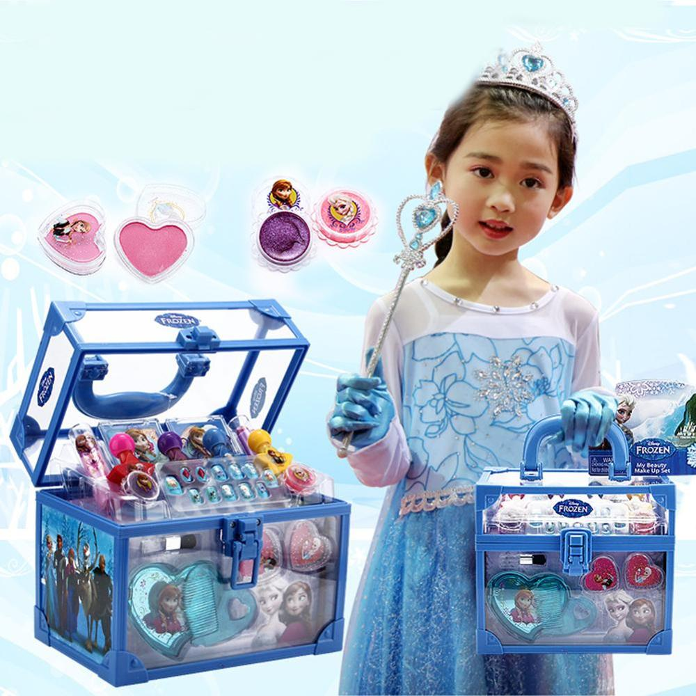 Disney Girls Toys Washable Cosmetic Make-up Set Ice Romance Princess Makeup Case Birthday Gift Play House Toy Kids Makeup