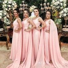 Wholesale Long Pink Bridesmaid Dresses One Shoulder A Line C