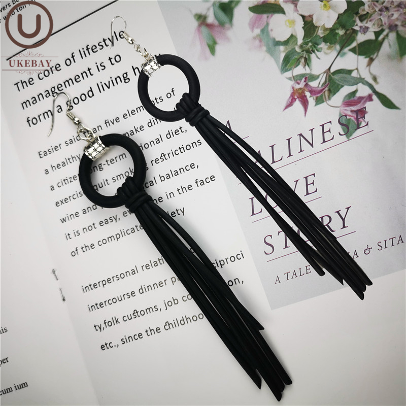 UKEBAY New Tassel Drop Earrings Long Earring Female Designer Hand Made Rubber Jewelry Silicone Dangler Birthday Gift Earrings