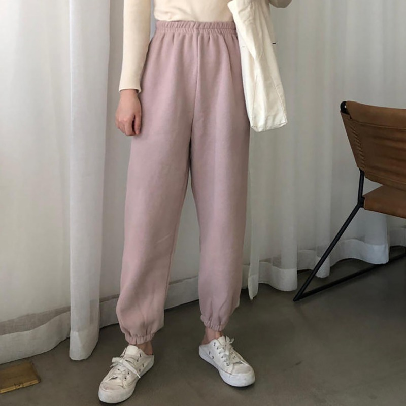 Winter Warm Pants Women New Casual Long Pants Slim High-Elastic Waist Velvet Thick Solid Color Pants Female Warm Sports Pants