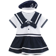Baby Girls Sailor Costume Infant Halloween Navy Playsuit Fancy Dress Toddler Mariner Nautical Cosplay Outfit Anchor Uniform цена в Москве и Питере