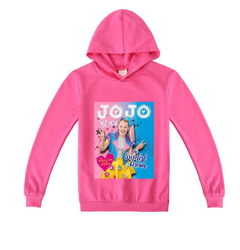 2020 nueva oferta de Sudadera con capucha de manga larga con estampado de Jojo Siwa de dibujos animados para niñas. 100% algodón para niñas.