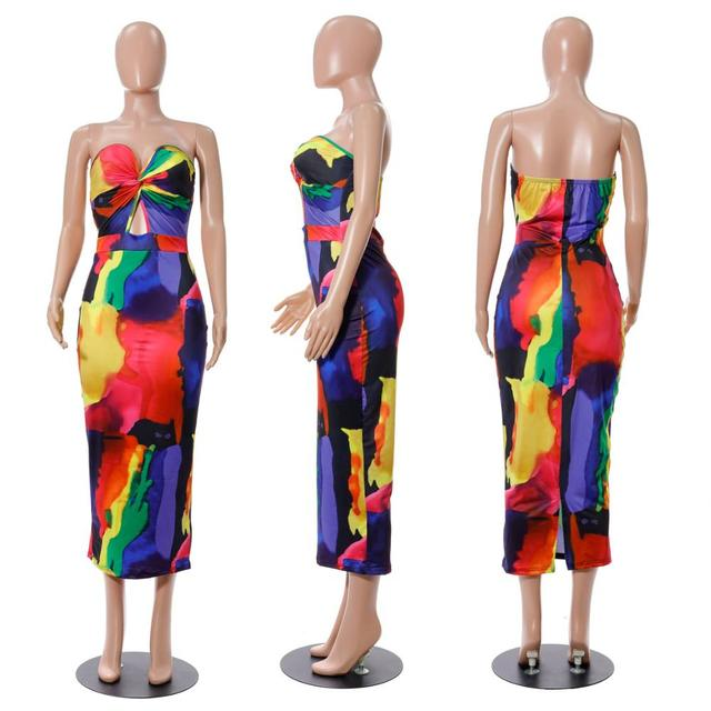 Sexy Printed Strapless Long Dress Women Summer Sleeveless Neon Tie-Dye Outfit Sundress Club Night Party Bodycon stretchy Dresses 6