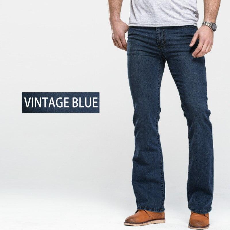Men's Boot Cut Jeans Slightly Flared Slim Fit Famous Brand Blue Black jeans Designer Classic Male Stretch Denim jeans 4