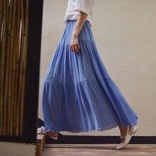 Cotton Linen Long Skirt Elastic Waist Beach Maxi Pleated Blue Solid A Line Autumn Vintage long for Women faldas