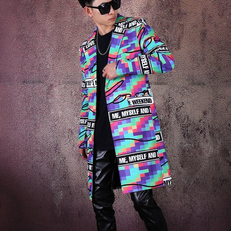 New Men Colorful Plaid Prints Suit Male Medium Long Suit Jacket Nightclub Hair Stylist The Host Stage Performance Coat