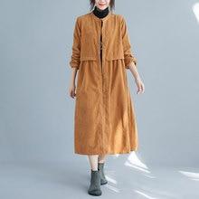 Women Coat Johnature Windbreaker Autumn Corduroy Winter Fashion New Simple Retro Pockets