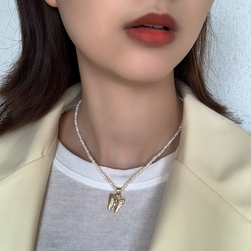 Beautiful Butterfly Pendant Necklace 925 Sterling Silver Pearl Chain Chocker Necklace 18k Gold Necklace For Women Fine Jewelry