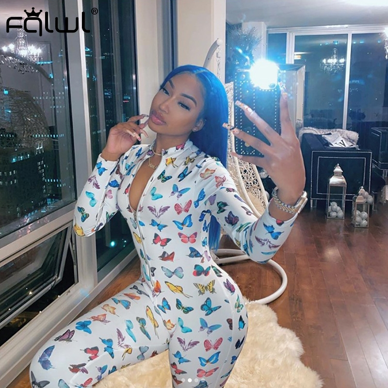 FQLWL Butterfly Mouth Print Ladies Sexy Club Bodycon Jumpsuit Women Long Sleeve Skinny Summer Rompers Womens Jumpsuit Female