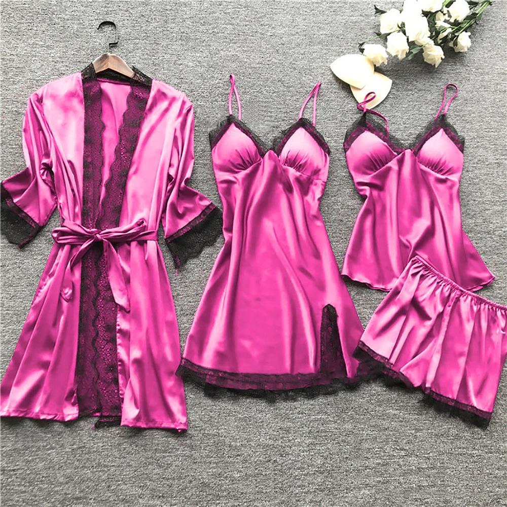 CALOFE Summer 2020 Women Pajama Sets 4 Pcs Sexy Lace Pyjamas Women Satin Silk Sleepwear Elegant Pijama with Chest Pads Homewear