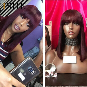 Image 4 - Bang Wig Human Hair 99J Bob Lace Front Wigs With Bangs For Black Women Ombre Human Hair Wig Pre Plucked Lace Wig Remy Hair ISHE