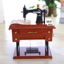 Vintage Music Box Kids Toys Mini Sewing Machine Style Mechanical Toys For Children Christmas Birthday Gift Table Decoration New(China)