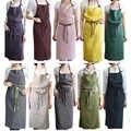 BAVER Premium mode fait à la main Style japonais tablier de lin avec des paquets pour la cuisine café-restaurant serveur Studio robe