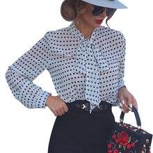 Polka Dot Printed Womens Tops And Blouses Autumn Bow-Tie Ladies Casual Loose Blouse Chiffon bluzki damskie M-3XL Blusas D35