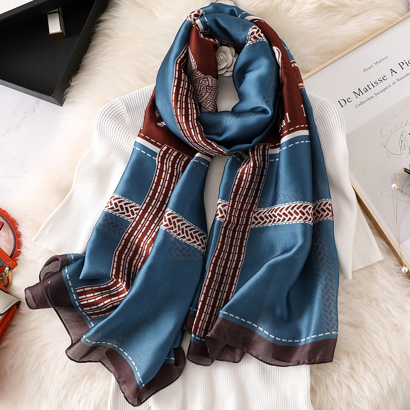 Women Silk Scarves Fashion Classic Silk Spring And Autumn Chiffon Popular Print Scarf Ladies Beach Shawl Quality Headscarf
