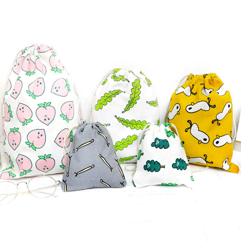 Cute Cartoon Printing Women Drawstring Bag Ladies Cosmetic Storage Bag Travel Home Portable Cotton Eco Folding Recyclable Bag