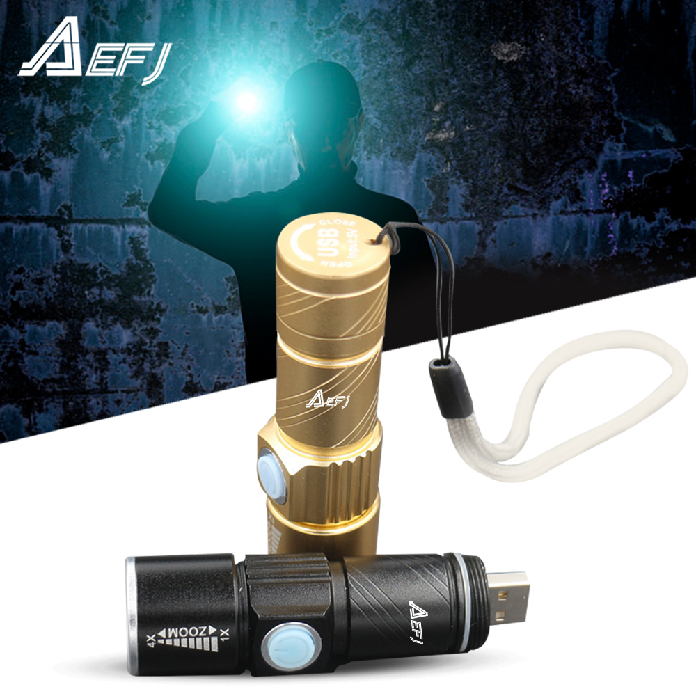 Миниатюрный светодиодный фонарик USB XPE Q5LED, уличсветильник фонарь для кемпинга, перезаряжаемый водонепроницаемый масштабируемый велосипед...