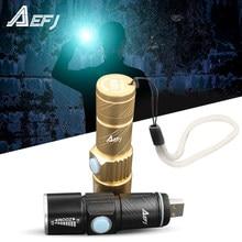 Mini lampe de poche USB XPE q5 led, torche Rechargeable, imperméable, Zoomable, pour Camping et vélo, 3 modes, pratique