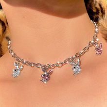 Ins Hip-hop Stainless Steel Necklaces Twist Clavicle Chain Rhinestone Rabbit Necklace Choker For Women Fashion Jewelry Gift