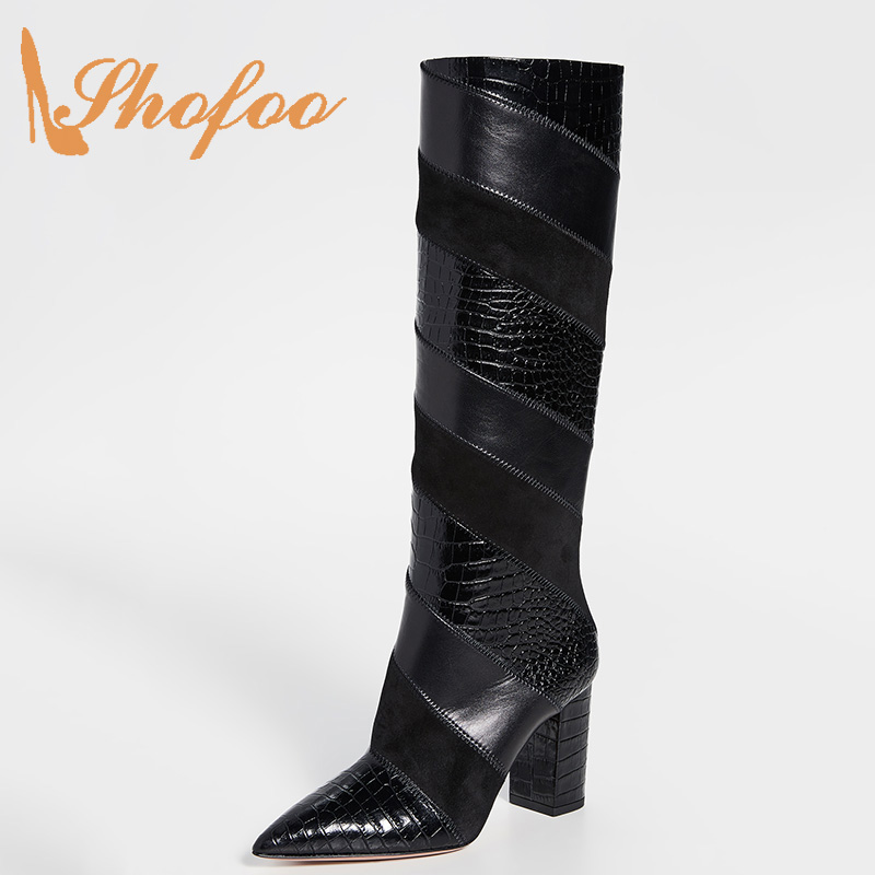 Black Croc Print Slip On Knee High Boots Chunky Heel Pointed Toe Shoes For Ladies Winter Mature Sexy Botas Size 14 15 16 Shofoo