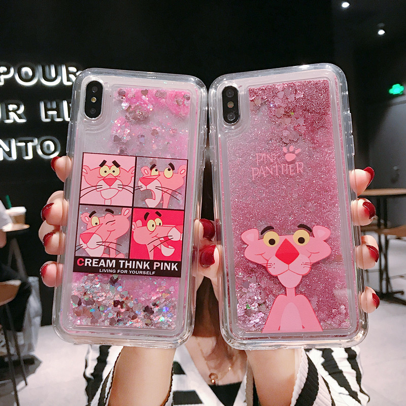 Glitter Cute Pink Panther <font><b>Liquid</b></font> Phone <font><b>Case</b></font> For <font><b>OPPO</b></font> A9 2020 A11X Nail polish Quicksand For <font><b>OPPO</b></font> A5 2020 Protective <font><b>Cover</b></font> <font><b>Case</b></font> image