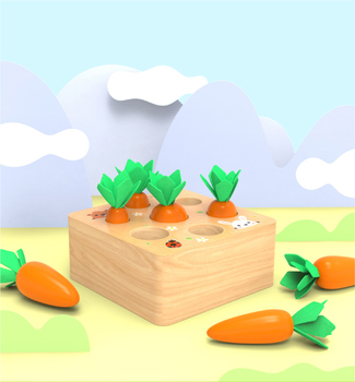 Kids Block Children Wooden Toys Montessori Teaching Building Pulling Carrot Spelling Carrot Game Baby Early Childhood Education flyingtown montessori teaching aids balance scale baby balance game early education wooden puzzle children toys