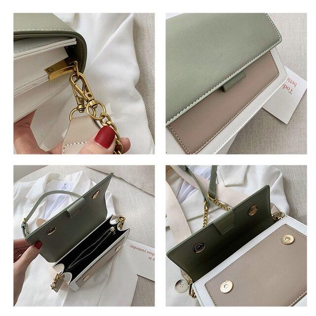 Contrast color Leather Crossbody Bags For Women 2021 Travel Handbag Fashion Simple Shoulder Simple Bag Ladies Cross Body Bag 5